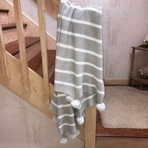 Soft Grey and White Striped Throw Blanket